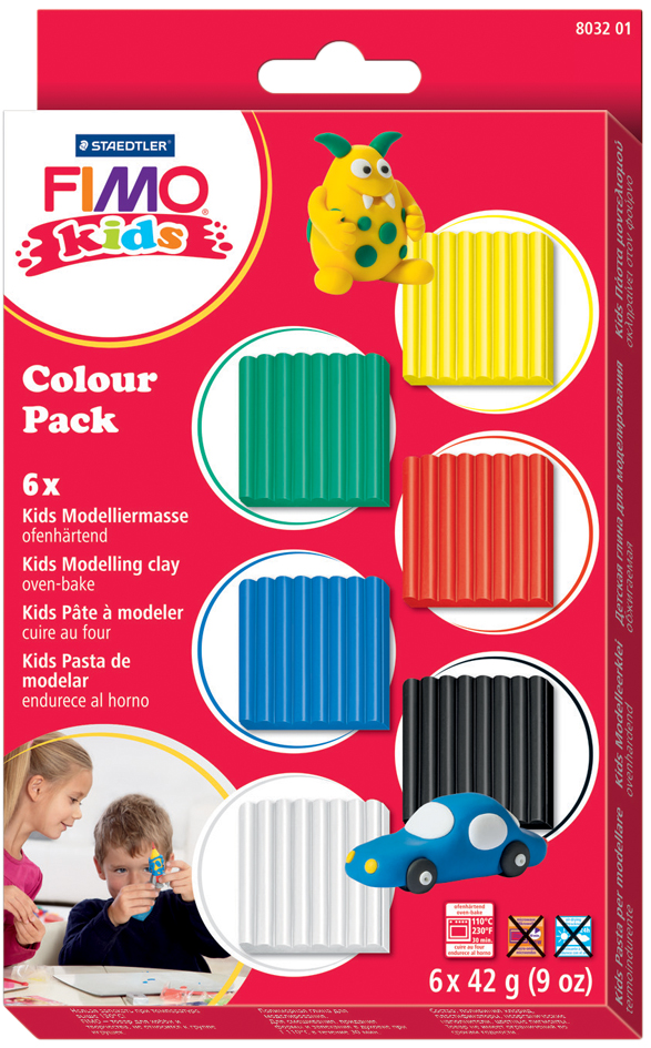 FIMO kids Modelliermasse-Set Colour Pack ´basic´, 6er Set