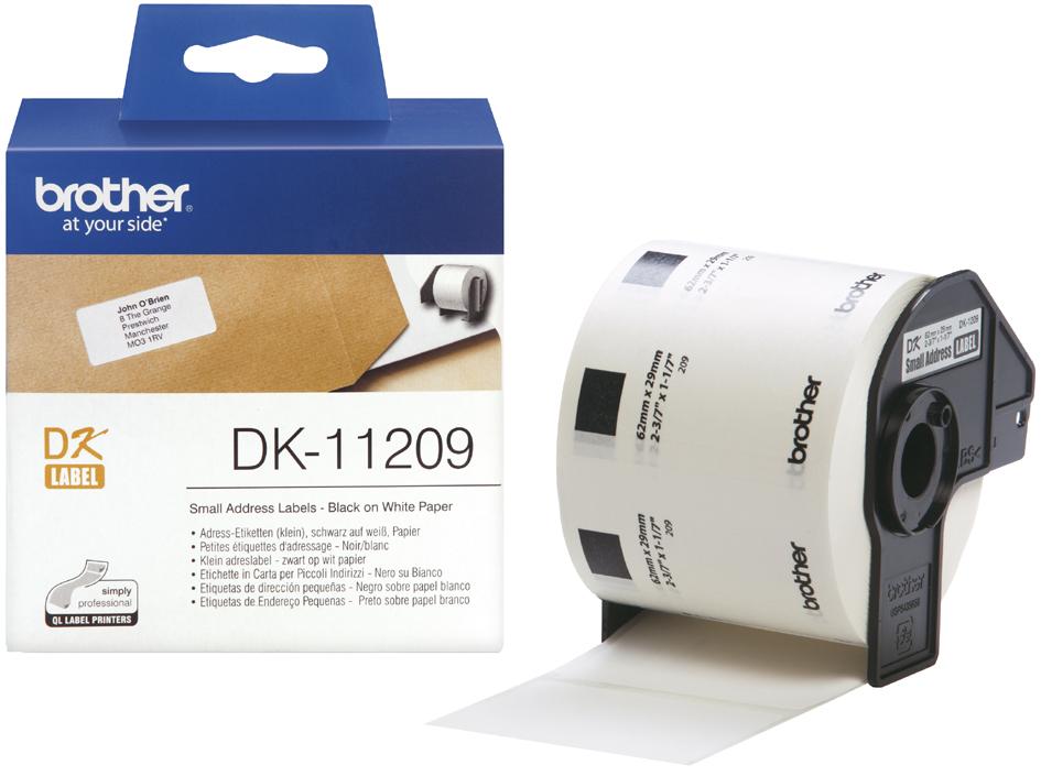 brother DK-11209 Adress-Etiketten, 29 x 62 mm, weiß