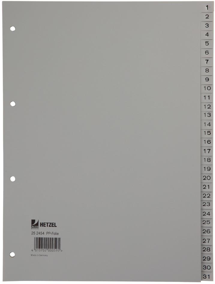 HETZEL Kunststoff-Register, Zahlen, A4, 1-31, P...