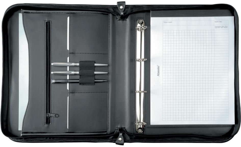 Alassio Ringbuchmappe ´LIMONE´, DIN A4, Echt Leder, schwarz