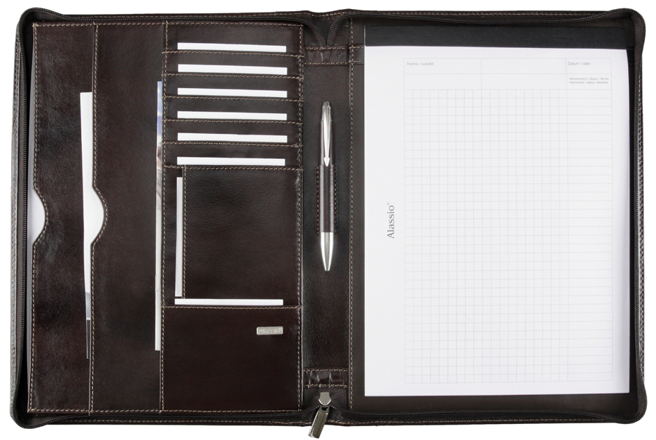 Alassio Schreibmappe ´MONACO´, DIN A4, Leder, dunkelbraun