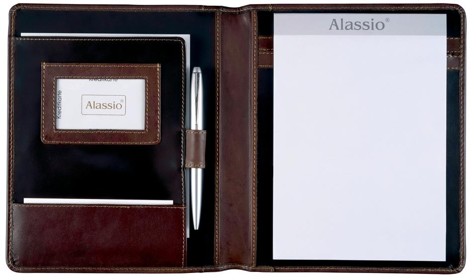 Alassio Schreibmappe ´MONACO´, A5, Leder, dunkelbraun-antik