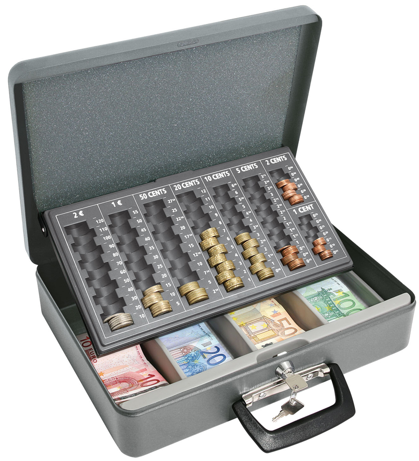 WEDO Geldzählkassette Maxi, grau, aus Stahlblech