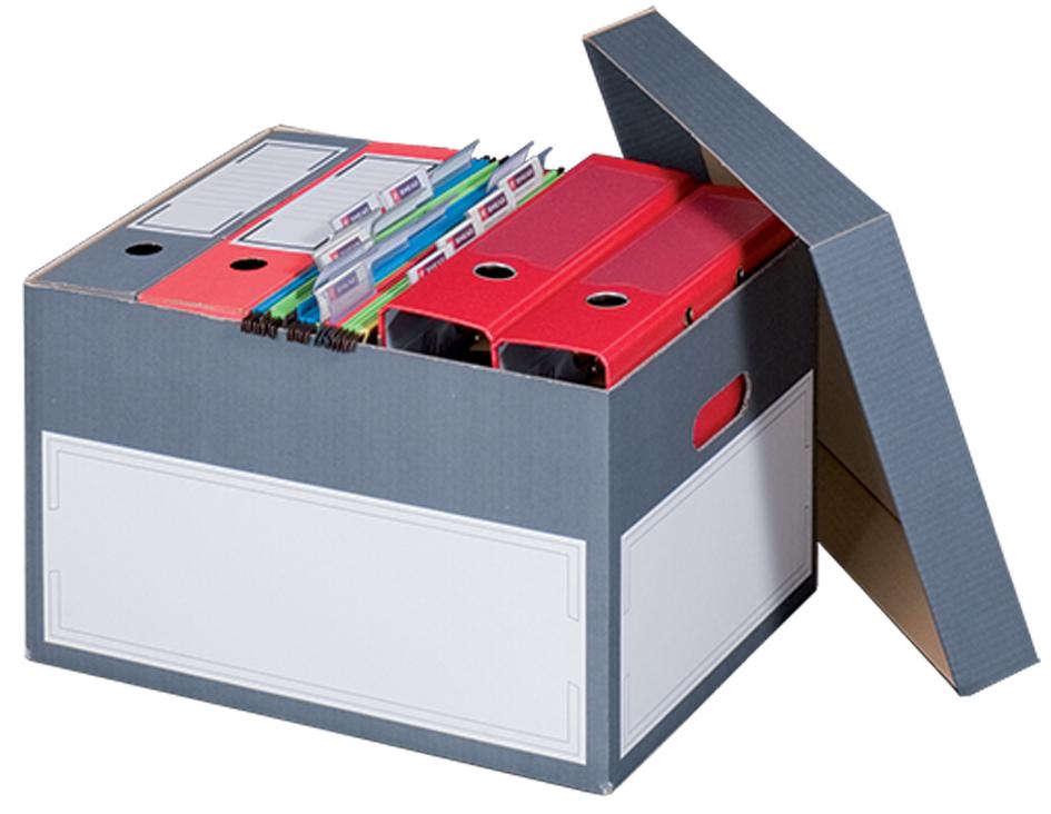 smartboxpro Archiv-/Transportbox L, grau, mit S...