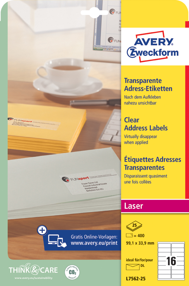 AVERY Zweckform Transparente Adress-Etiketten, ...