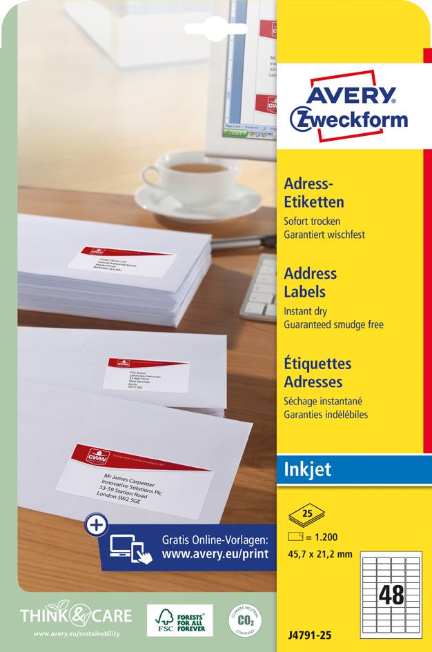 AVERY Zweckform Inkjet Adress-Etiketten, 45,7 x...