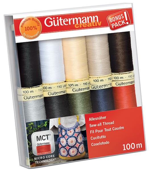 Gütermann Nähfaden-Set ´Basisfarben´, 10 Spulen