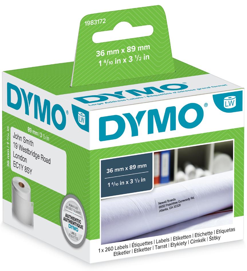 DYMO LabelWriter-Adress-Etiketten, 89 x 36 mm, transparent