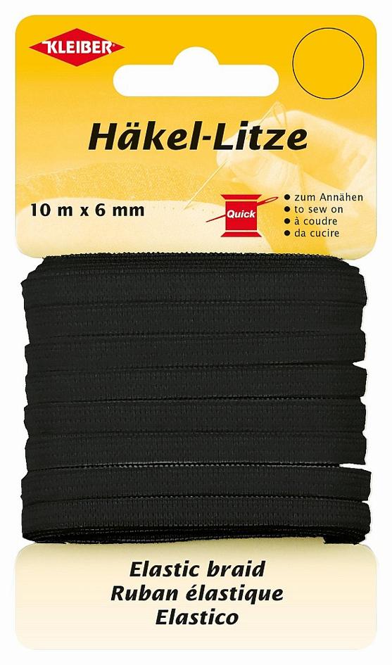 KLEIBER Häkel-Litze, 6 mm x 10 m, schwarz