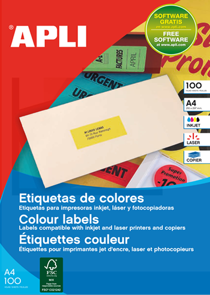 agipa Adress-Etiketten, 70 x 31 mm, neonrot