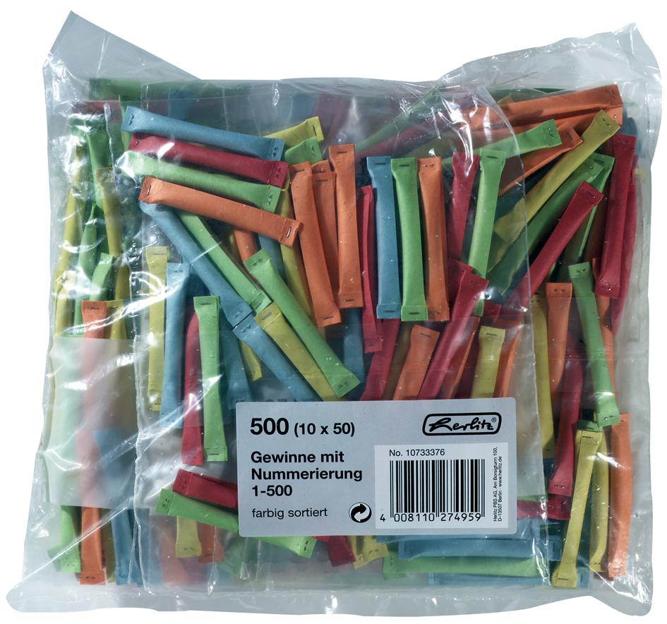 herlitz Gewinnlose, nummeriert 1-500, farbig so...