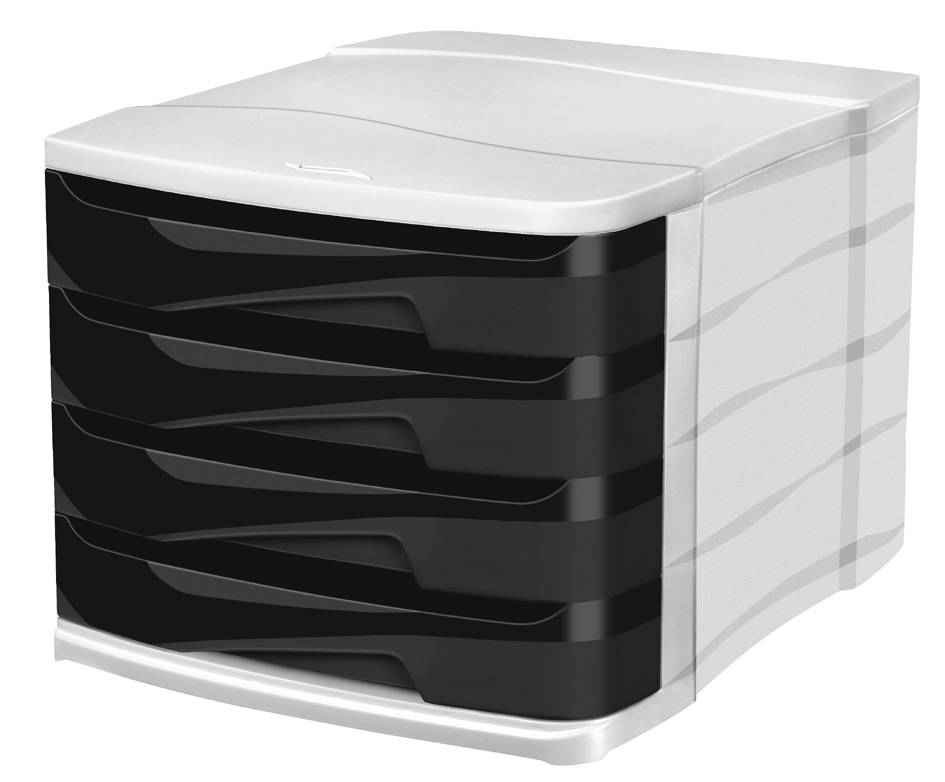 CEP Schubladenbox ELLYPSE OWA, 4 Schübe, schwarz