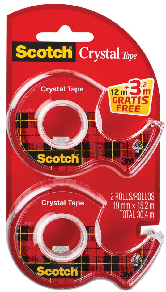 Scotch Handabroller Crystal, transparent, Vorteilspack