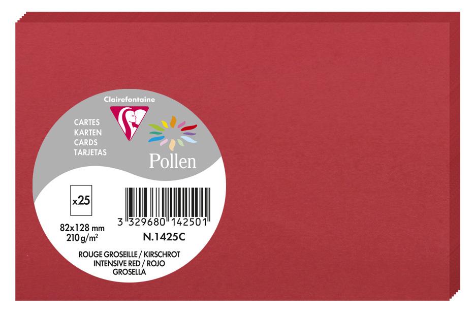 Pollen by Clairefontaine Briefkarte 82 x 128 mm, kirschrot