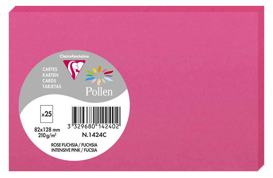 Pollen by Clairefontaine Briefkarte 82 x 128 mm, fuchsia