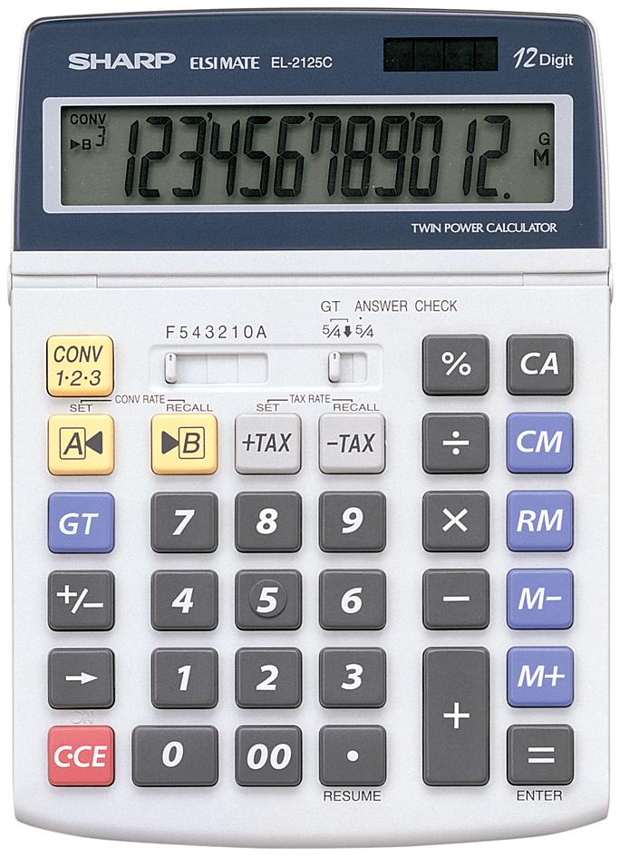SHARP Tischrechner EL-2125 C, Solar-/ Batteriebetrieb