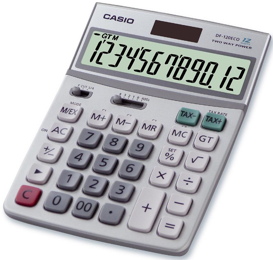 CASIO Tischrechner DF-120 ECO, Solar-/ Batteriebetrieb