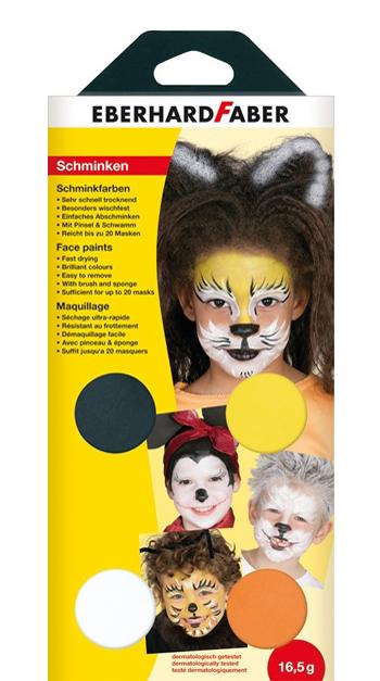 EBERHARD FABER Schminkfarben-Set ´Tiere´, 4 Farben