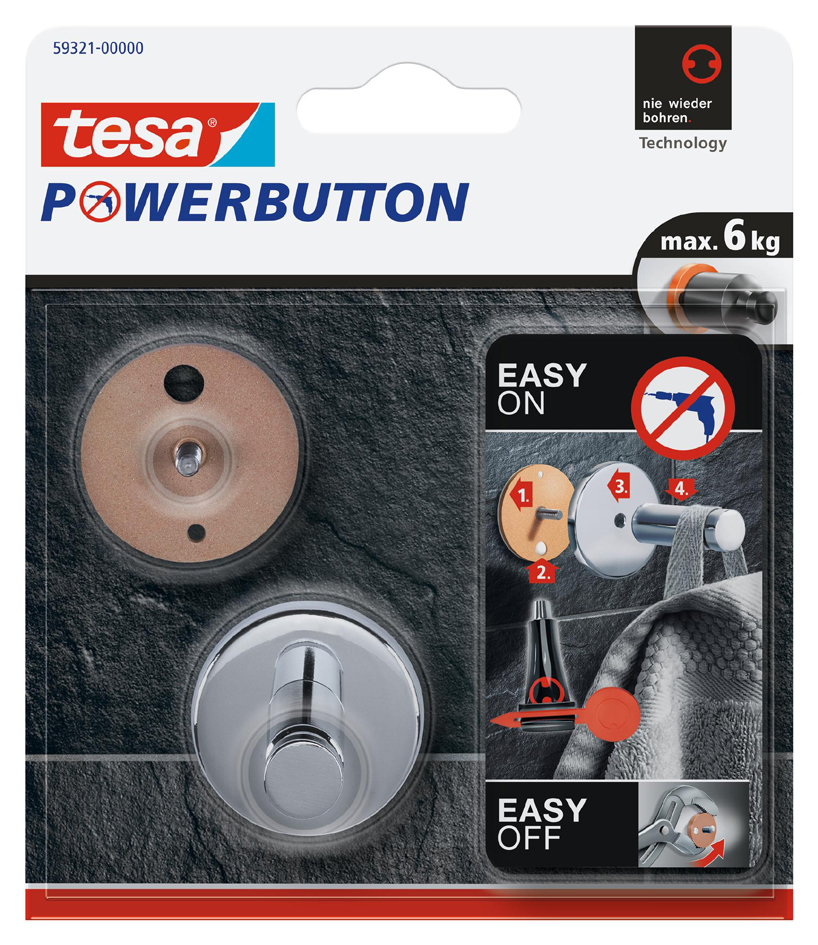 tesa Powerbutton Haken Universal medium, chrom