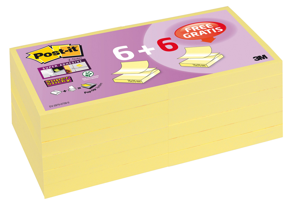 Post-it Haftnotizen Z-Notes Super Sticky, 6 + 6 GRATIS