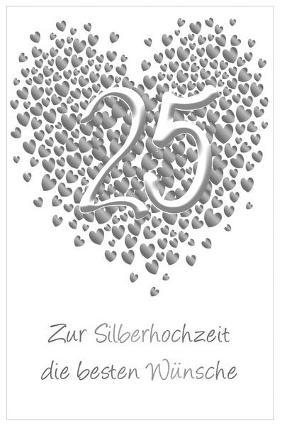 SUSY CARD Hochzeitskarte - Silberhochzeit ´Herz´