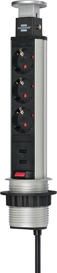 brennenstuhl Steckdoseneinheit ´Tower Power´, 3-fach, USB