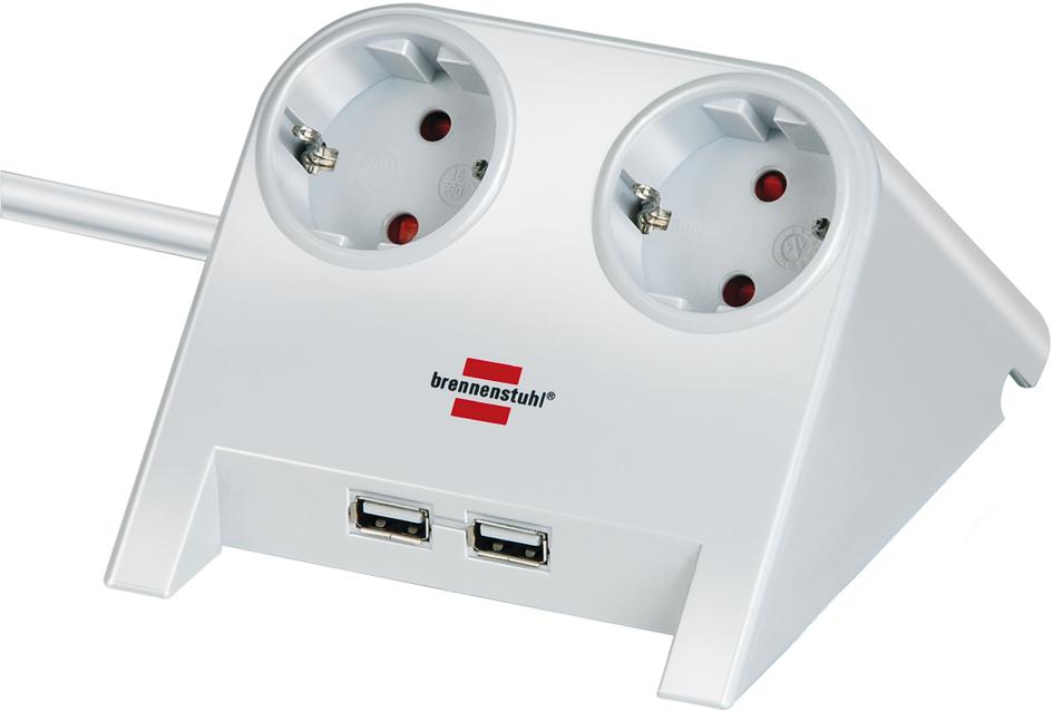 brennenstuhl Tischsteckdose ´Desktop-Power´, 2-fach, 2 x USB