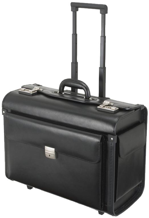 Alassio Pilotenkoffer ´SILVANA´, Leder, schwarz, mit Trolley