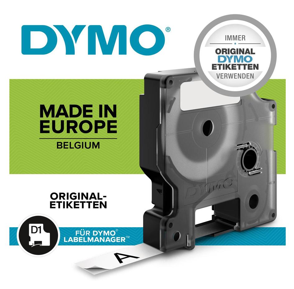 DYMO D1 Schriftbandkassette weiß/schwarz, 12 mm...