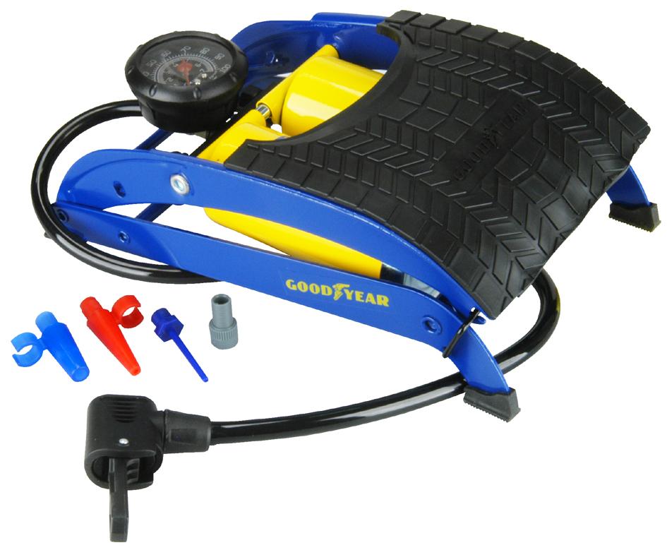 GOODYEAR Fußluftpumpe Doppelzylinder, blau/gelb