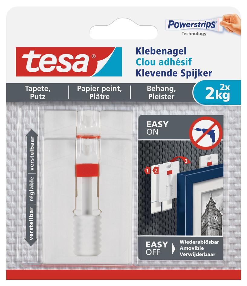 tesa Powerstrips Klebenagel für Tapeten und Putz, 2,0 kg