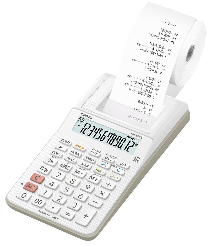 CASIO druckender Tischrechner Modell HR-8 RCE-WE, weiß