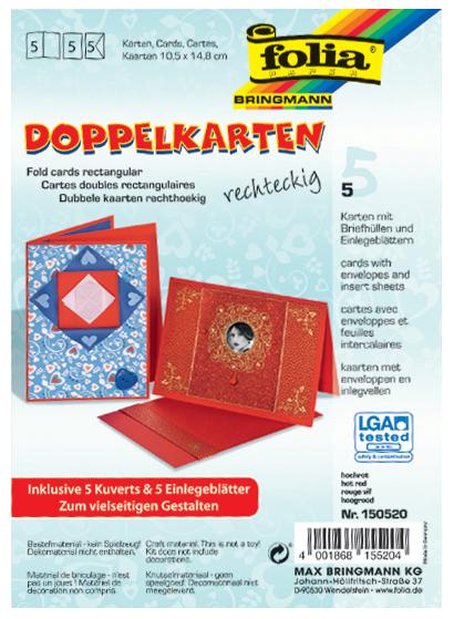 folia Doppelkarten, 105 x 150 mm, 220 g/qm, weiß