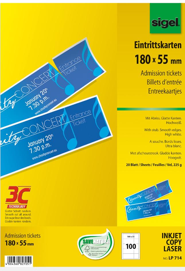 Vorschaubild von sigel Eintrittskarten, 180 x 55 mm, bedruckbar, hochweiß