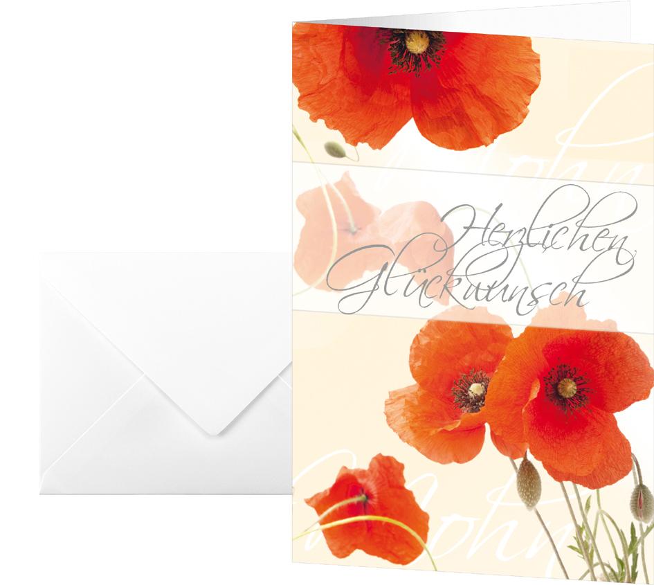sigel Glückwunschkarte ´Red Poppies´, (B)115 x (H)170 mm