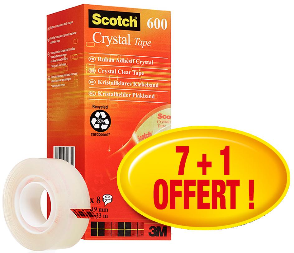 Scotch Klebefilm Crystal Clear 600, 19 mm x 33 m, 7+1