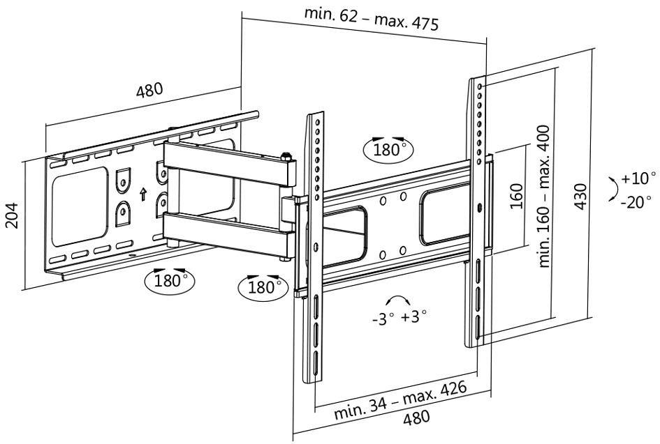 LogiLink TV-Wandhalterung Full Motion, für 81,2...