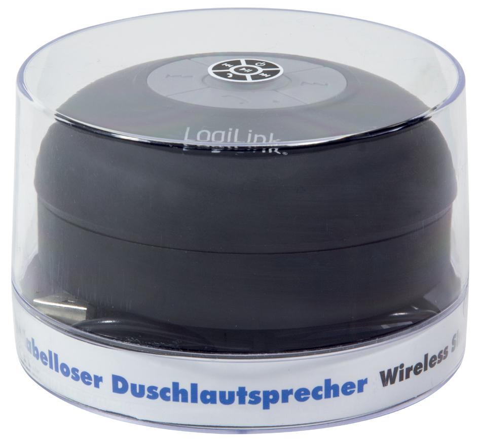 LogiLink Bluetooth Lautsprecher, IPX4, mit Saugnapf, schwarz