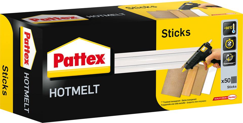 Pattex Heißklebepatrone HOT STICKS, rund, 1 kg, transparent