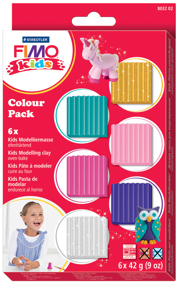 FIMO kids Modelliermasse-Set Colour Pack ´girlie´, 6er Set