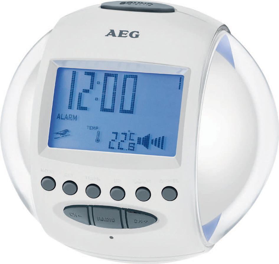AEG UKW Uhrenradio MRC 4117, LED-Anzeige, weiß