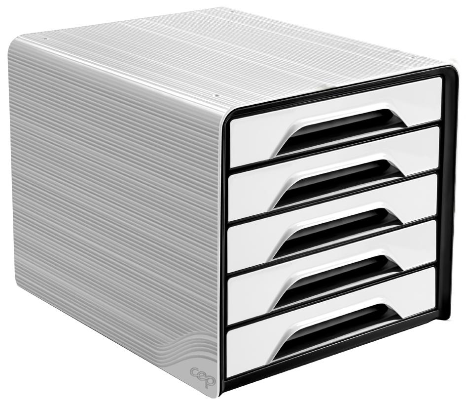 CEP Schubladenbox Smoove, 5 Schübe, weiß / schwarz