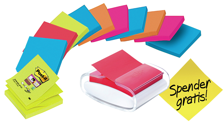 Post-it Super Sticky Z-Notes Spender Promopack