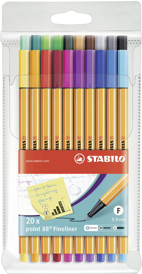 STABILO Fineliner point 88, 20er Kunststoff-Etui