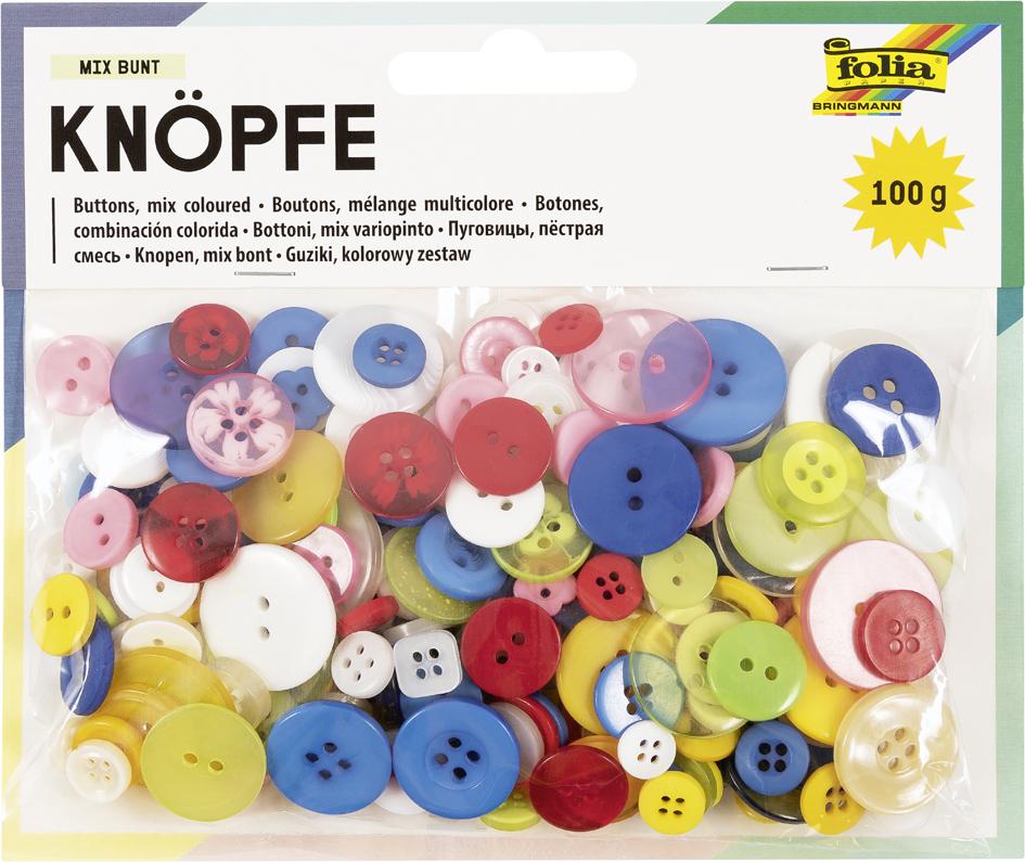 folia Knöpfe-Mix, 100 g, farbig sortiert