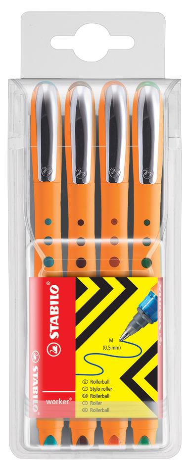 STABILO Tintenroller worker medium, 4er Etui