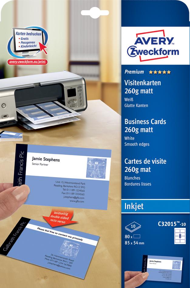 AVERY Zweckform Quick & Clean Visitenkarten, matt, 260 g/qm
