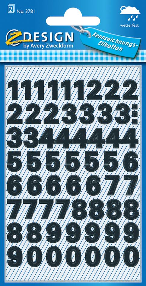 AVERY Zweckform ZDesign Zahlen-Sticker 0-9, Fol...
