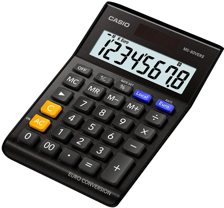 CASIO Tischrechner MS-80 VER II, Solar-/ Batteriebetrieb