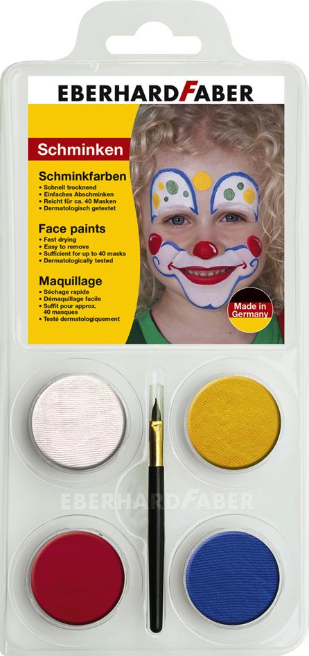 EBERHARD FABER Schminkfarben-Set ´Clown´, 4 Farben